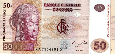 P 97 Congo Dem. Rep. 50 francs Year 2007